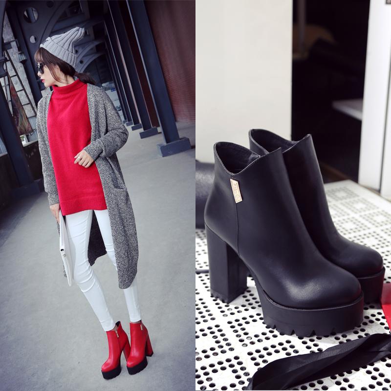 2015秋冬新款女鞋高跟短靴女真皮马丁靴潮欧美粗跟女靴子红色短靴