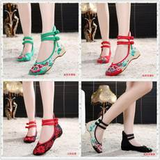 Hibiscus Flower Ladies Embroidered Cloth Shoes Casual Chinese Ethnicity Slope Heighten Cheongsam Dancing Women's Shoes