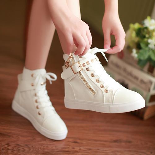 春季百搭全黑色内增高帆布鞋女高帮平底白色布鞋韩版学生休闲板鞋