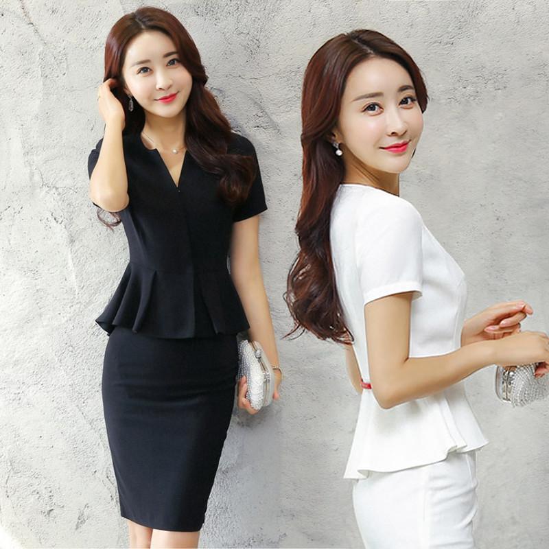 Mùa hè cao cấp chuyên nghiệp mặc phụ nữ ăn mặc váy mùa hè Mỏng trắng-cổ áo yếm OL phù hợp với ăn mặc chuyên nghiệp phù hợp với phụ nữ