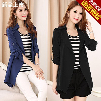 Large lapel simple casual coat in the long section of the windbreaker fat mm200 kg large size women's autumn season new
