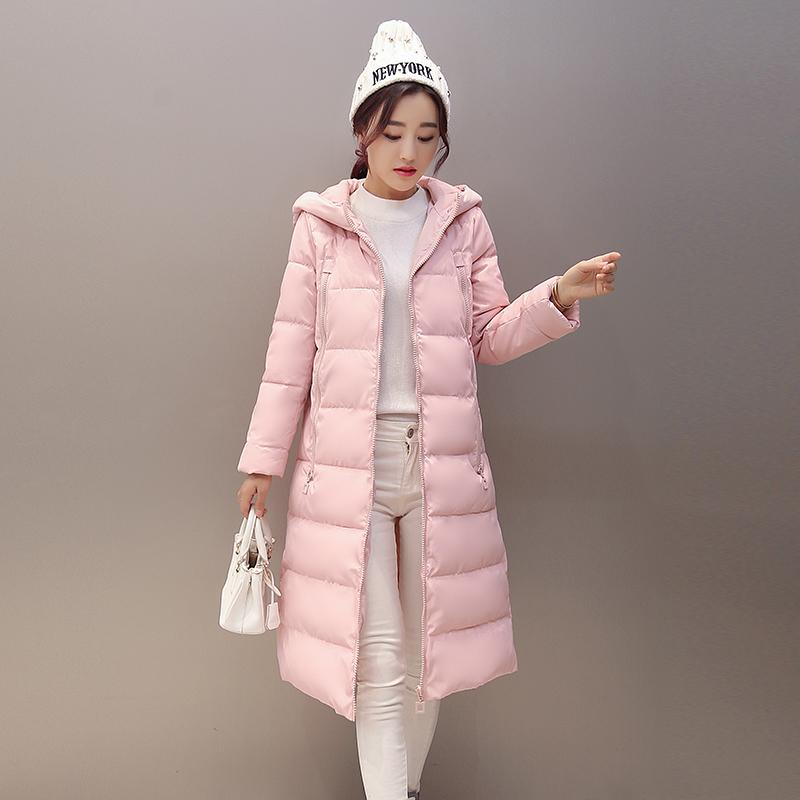 2015冬季韩版新款女装外套潮中长款棉衣时尚修身显瘦连帽过膝棉服