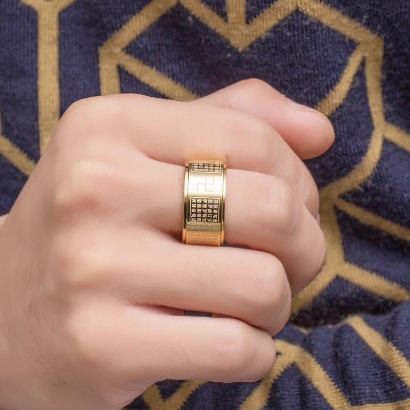 泰爱你 转动心经戒指男宽钛钢指环潮人个性霸气配饰简约免费刻字