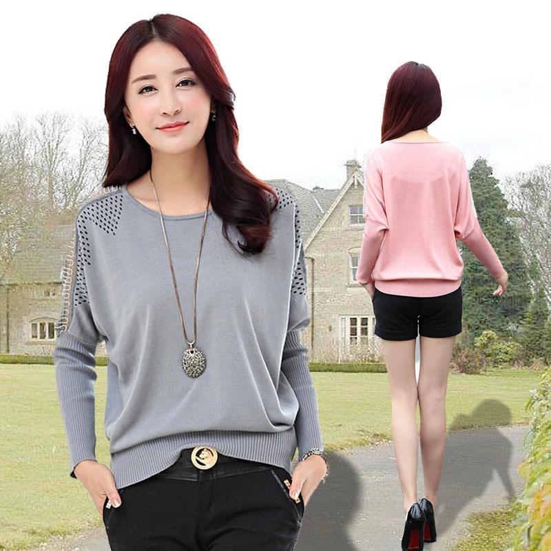 韩版春秋V领中长款撞色开衫女宽松大码毛衣针织衫薄复古外套长袖