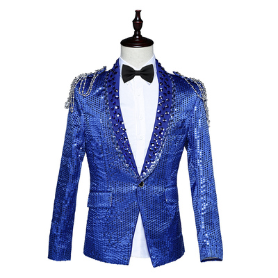 Men's sequins costumes pattern bar host singer sequins red blue and white court costume