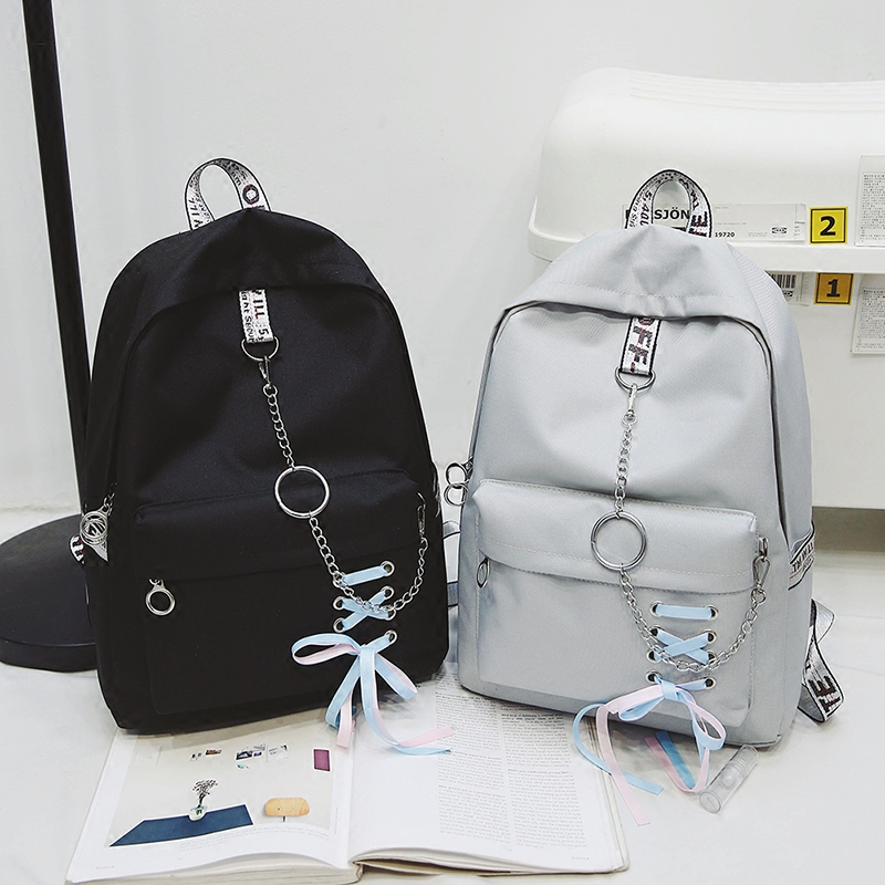 Schoolbag female Korean version of the simple ulzzang student backpack wild  college wind girl bow canvas 15671ee348