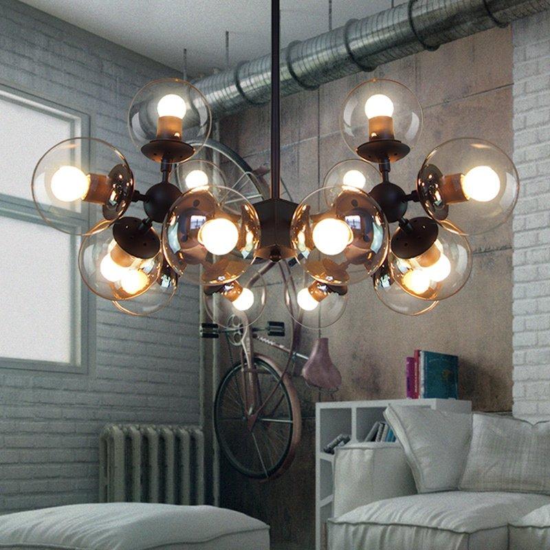 設計師的燈客廳燈咖啡廳創意LED玻璃圓球餐廳鐵藝魔豆分子吸頂燈