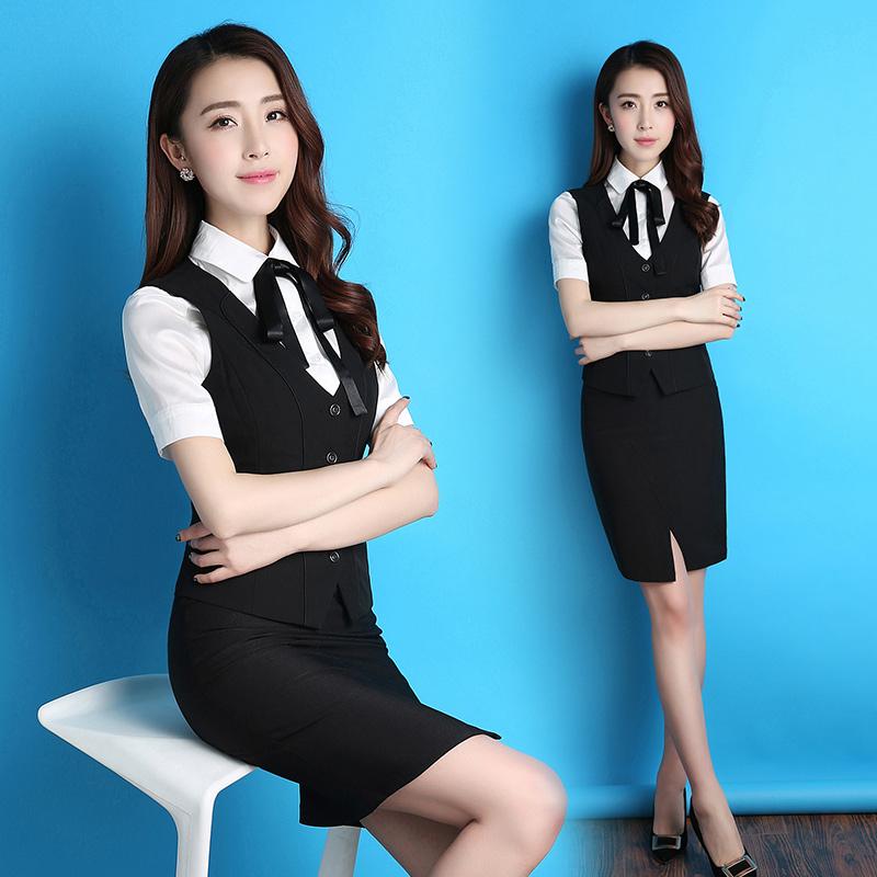 夏款修身职业装女短袖职业套装工装西裙套装女士正装面试工作服