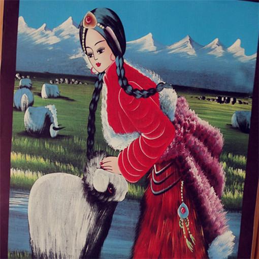 Тибетский чистый ручная работа живопись копия овчина Живопись тибетских девушек спец. предложение