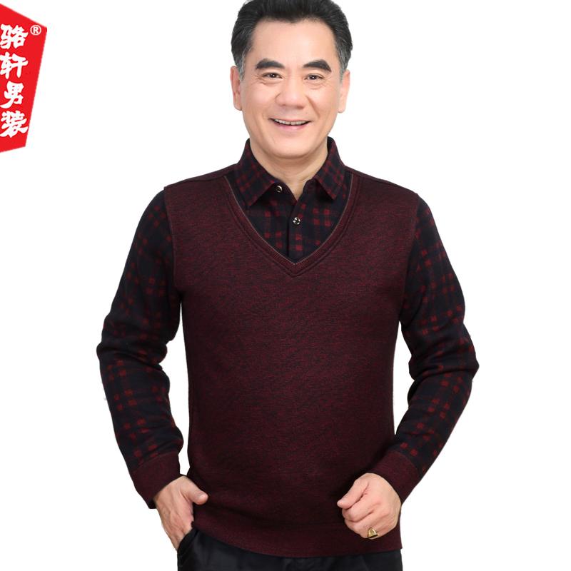 秋冬季男士装中老年人加绒加厚假两件套a男士衬衫中年毛衣爸爸衬衣