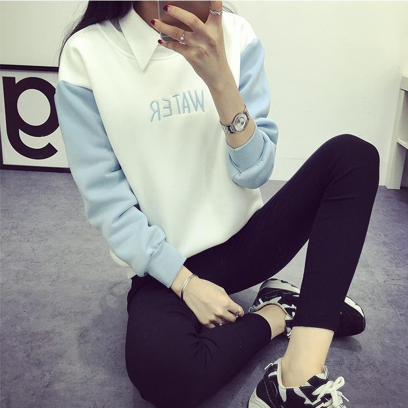 t恤女长袖2016春装新款女装韩版粗条纹拼色前短后长短款纯棉上衣