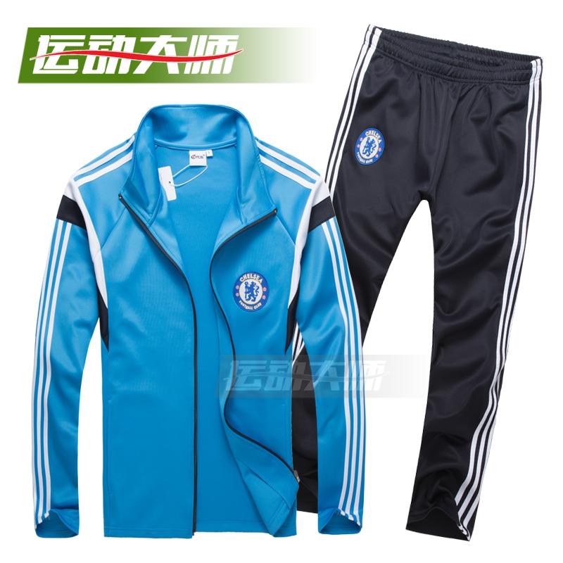 切尔西新款长袖服套装足球足球v长袖服组队队服长款拉链男包球衣邮