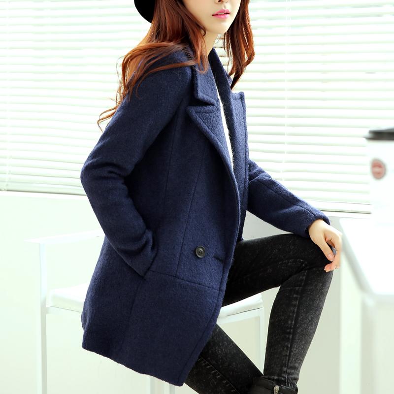 羊绒毛呢外套女2015秋季韩版修身显瘦中款呢子大衣名嫒毛呢风衣潮