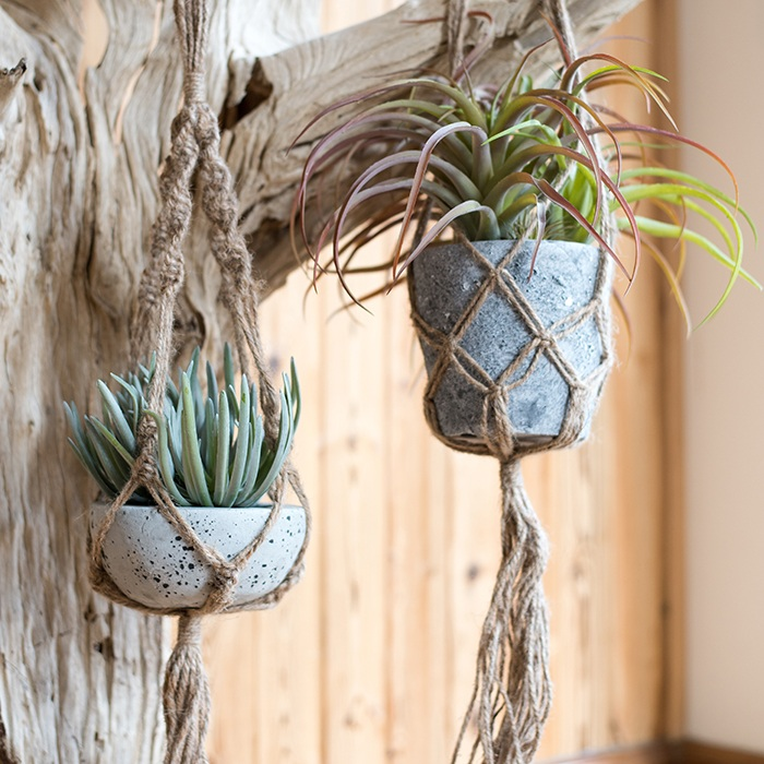 涵 Han Hemp Rope Basket Net Wall Hanging Flower Pots Hand Made Pocket American