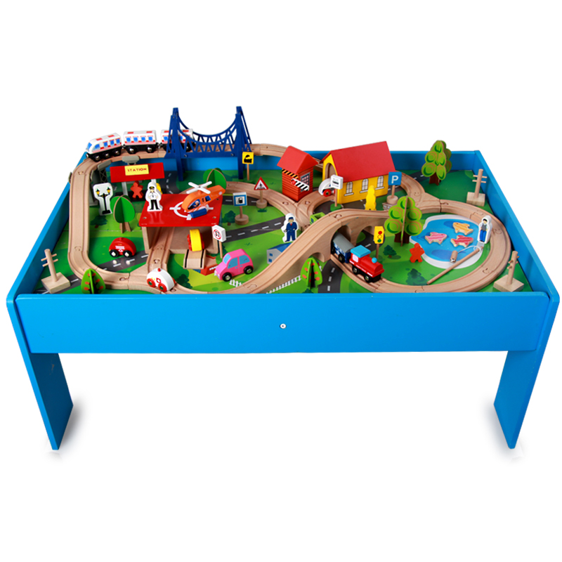 USD 116.56] Track electric train set wooden track table small ...