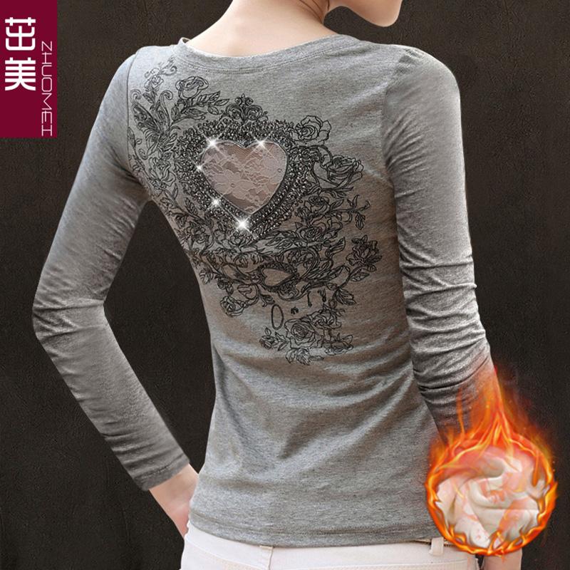 2015新款韩版春秋女加绒上衣蕾丝衫大码女装宽松长袖t恤女打底衫