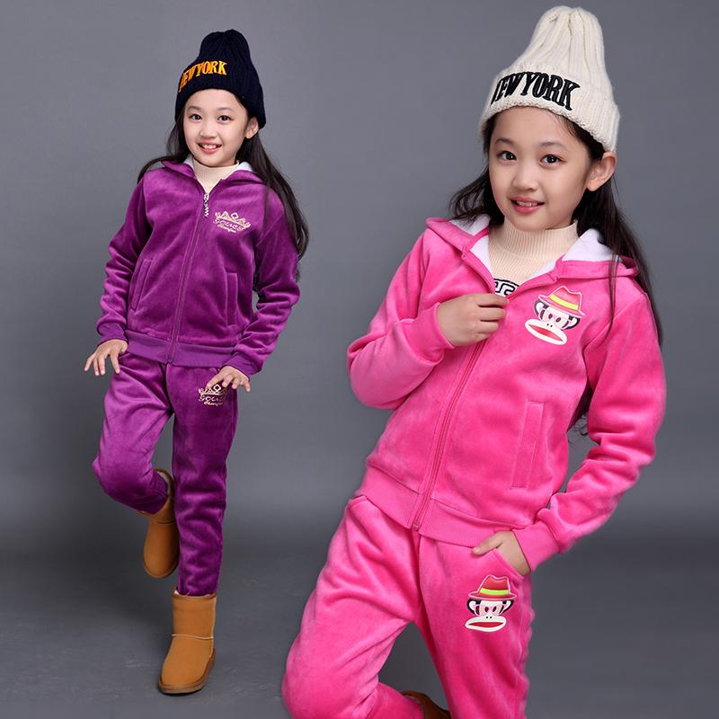 童装女童套装冬装2015秋冬季大童衣服运动儿童卫衣三件套加厚加绒