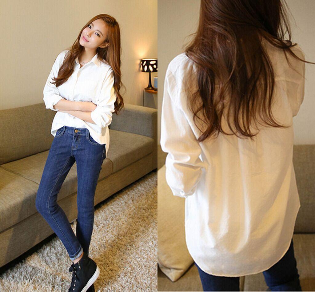 2015冬装新款长袖加绒衬衫女中长款 韩版大码衬衣加厚打底衫休闲