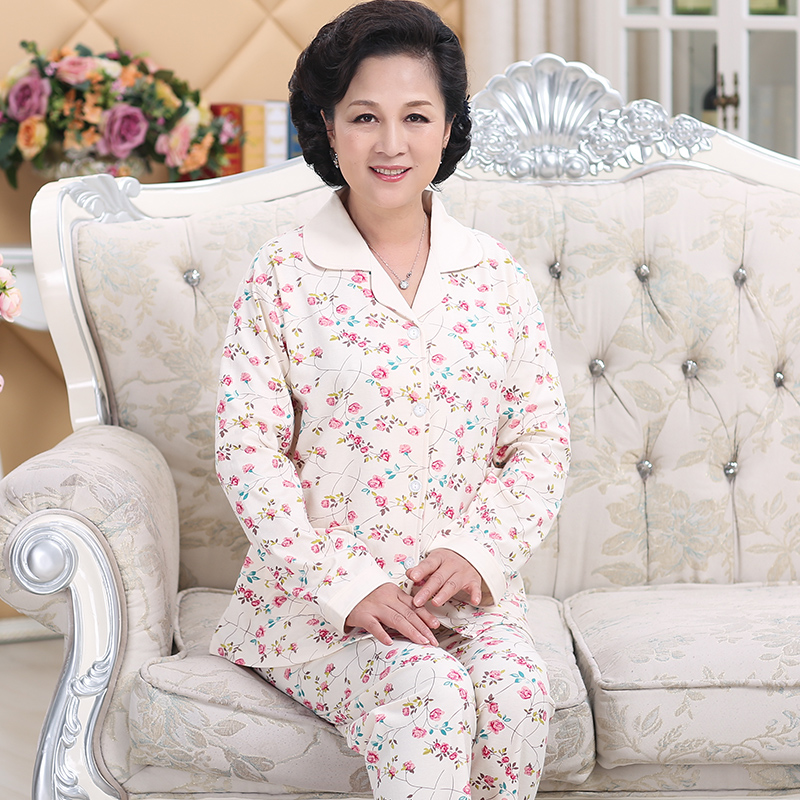 Middle-aged cotton long-sleeved ladies spring and autumn pajamas middle-aged  mother e4c740bf4