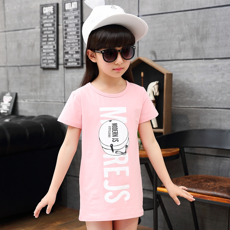Children's 2019 Summer Girls t-shirt short-sleeved print large children's shirt girl Korean version of the long section of the shirt