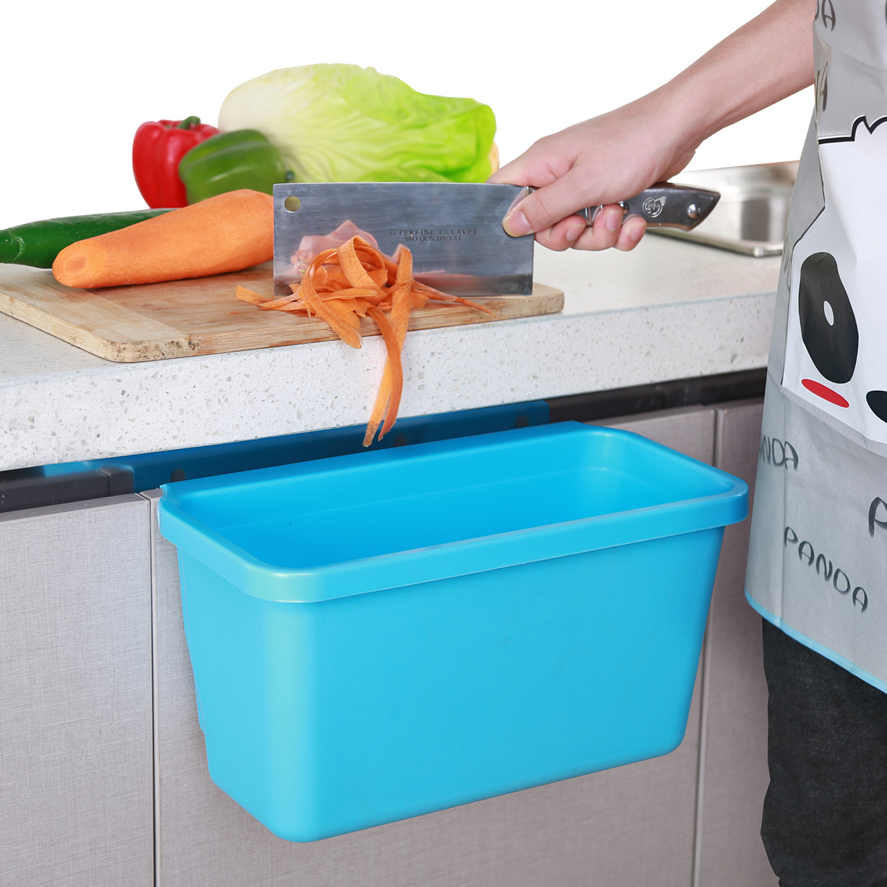 USD 16.75] Kitchen trash cupboard door side hanging debris bucket ...