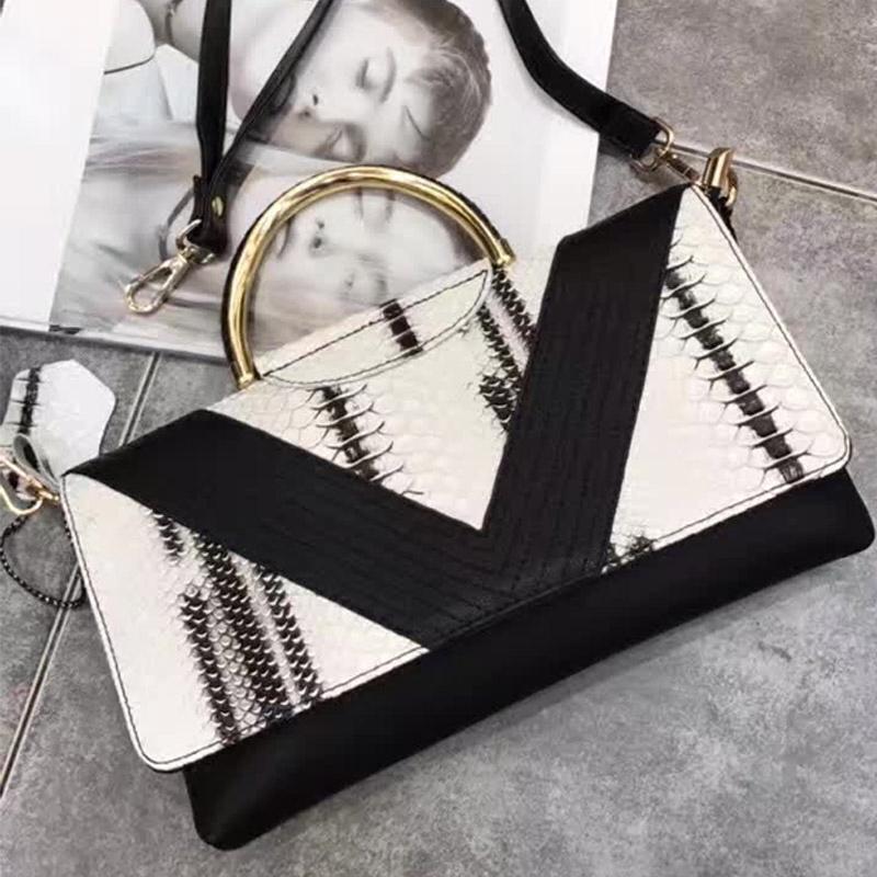2016春夏季新款牛皮女包方形包黑白色拼接撞色手提包真皮包斜挎包
