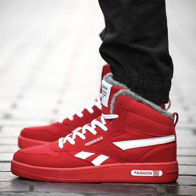 2015冬季高帮鞋男士棉鞋韩版休闲鞋红色男鞋子英伦潮鞋保暖鞋45码