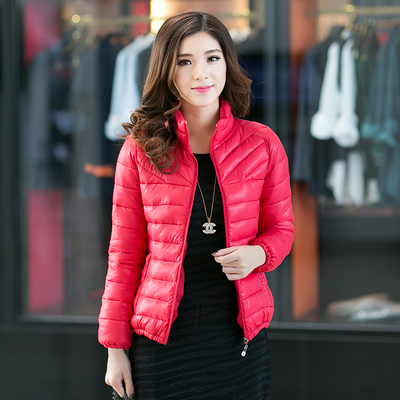 2017 autumn and winter new Korean version of the large size coat jacket down padded thick cotton jacket was thin women fat mm