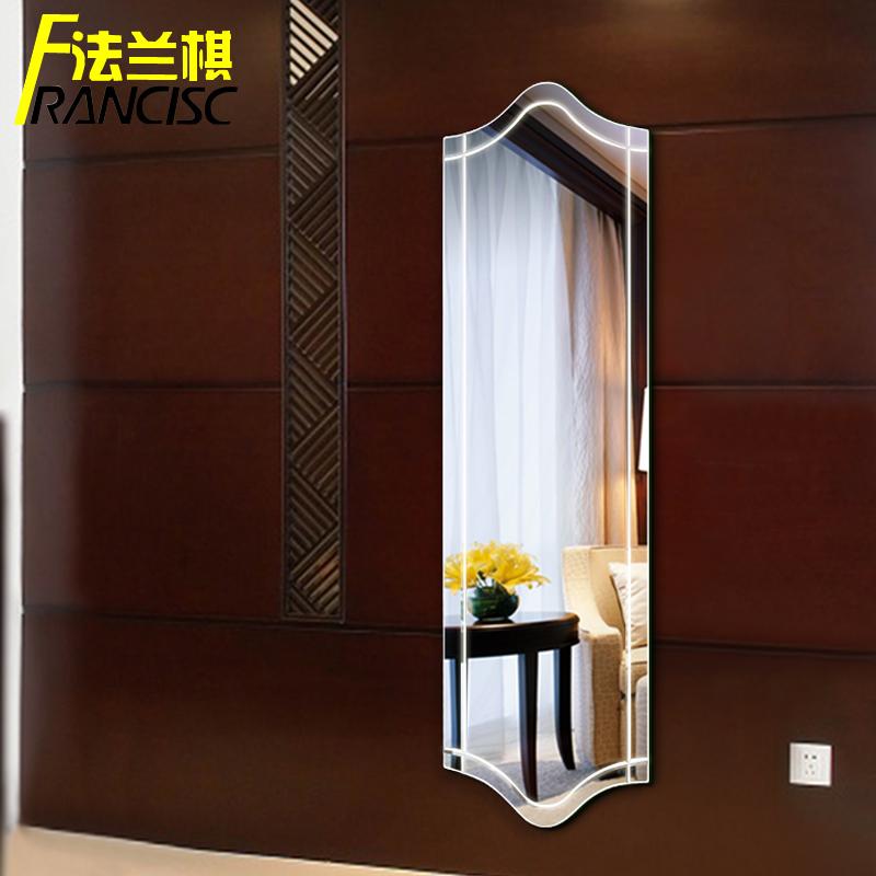 墙壁无框 简约现代全身镜QQ落地镜方形穿衣镜 白色试衣镜子包邮
