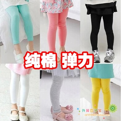 Children's clothing factory direct sales 2018 spring cotton girl pants candy color solid color children's leggings