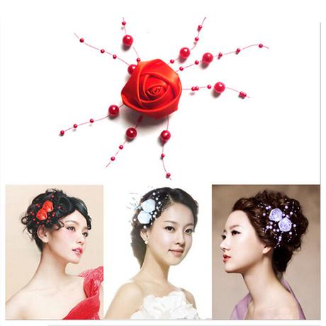 韩国羽毛大头花发夹舞台表演出儿童舞蹈手腕花头饰新娘发饰品红色