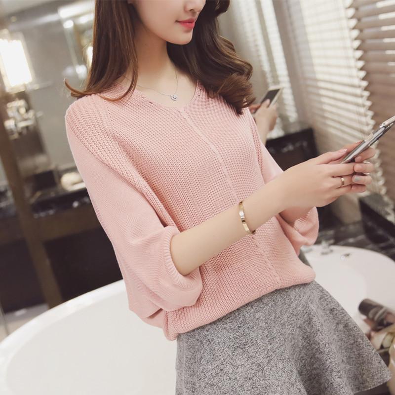韩版新款立领套头短袖短款针织衫潮流苏贴布字母宽松打底衫毛衣女