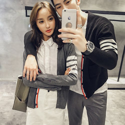 The new TB Li Yi Feng with cardigan Men's Tops Korean couple casual solid color knit v-neck sweater short