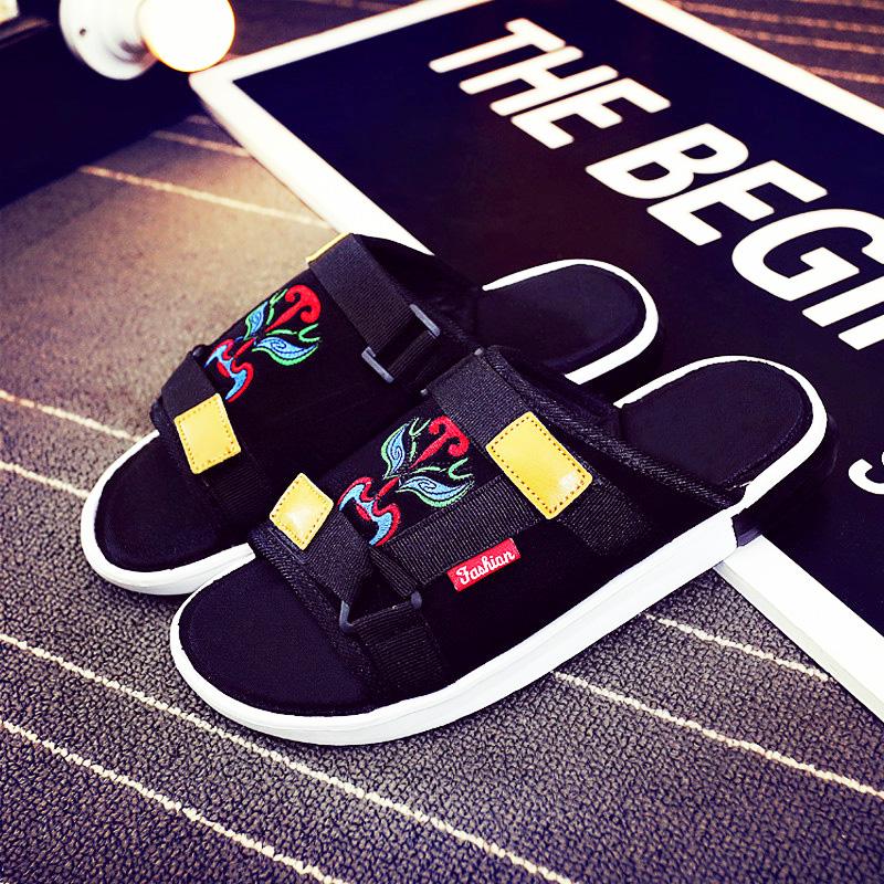 夏季社会精神小伙拖鞋刺绣网红拖鞋潮快手红人同款一字拖男凉鞋潮