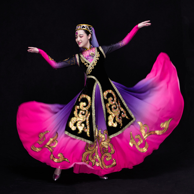 Chinese Folk Dance Costumes  Dance Costume Performance Dress Female National Long Skirt Performance Dress Adult Uygur Big Dress
