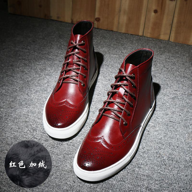 冬季新款马丁靴男中邦厚底加绒休闲皮鞋青年韩版个性潮真皮圆头