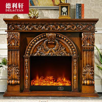 德利軒家具 1.5-1.8米歐式壁爐裝飾柜實木電壁爐架雕花電視柜8071
