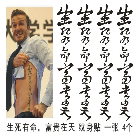 Beckham tattoo stickers Chinese characters Chinese characters life and  death rich in the day tattoo men tattoo tattoo waterproof