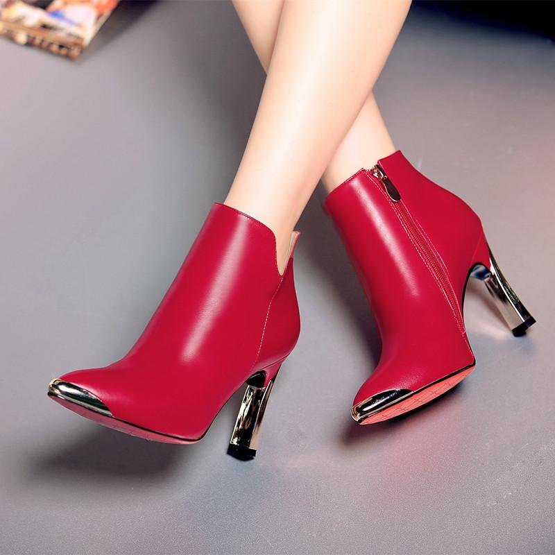 15秋冬酒红学院公主及裸靴子磨砂绒面粗跟中跟高跟短靴骑士靴女式