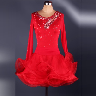 Latin dance dress with diamond inlay Latin Dance Costume competition dress for adult female Latin Dance Costume
