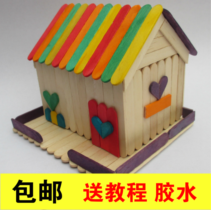 Ice cream stick diy handmade house ice cream stick model for Making hut with waste material