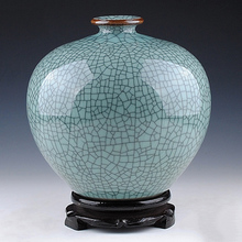 Jingdezhen ceramics antique crack official kiln blue glaze split vase pomegranate bottle Chinese style home decoration