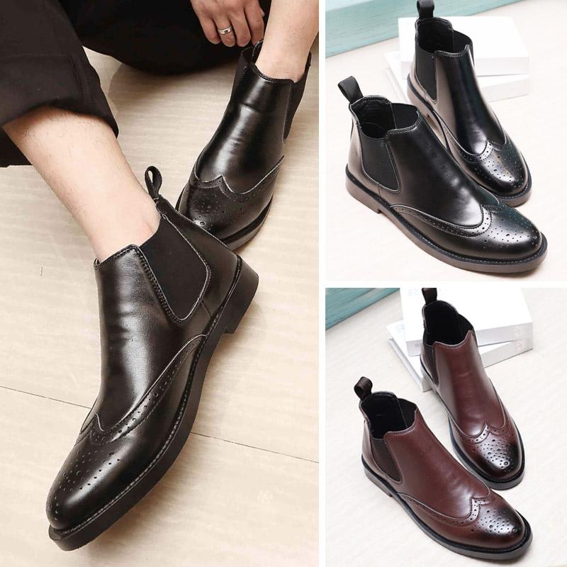 奥康男鞋冬季新款 高帮商务休闲皮鞋加绒棉鞋保暖加厚绒短靴雕花