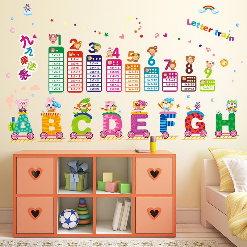 Early education wall stickers multiplication mouth table children\'s ...