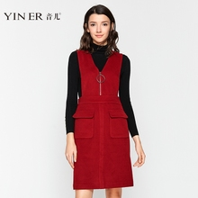 Yiner sound winter new red sleeveless V-neck pure wool strap dress