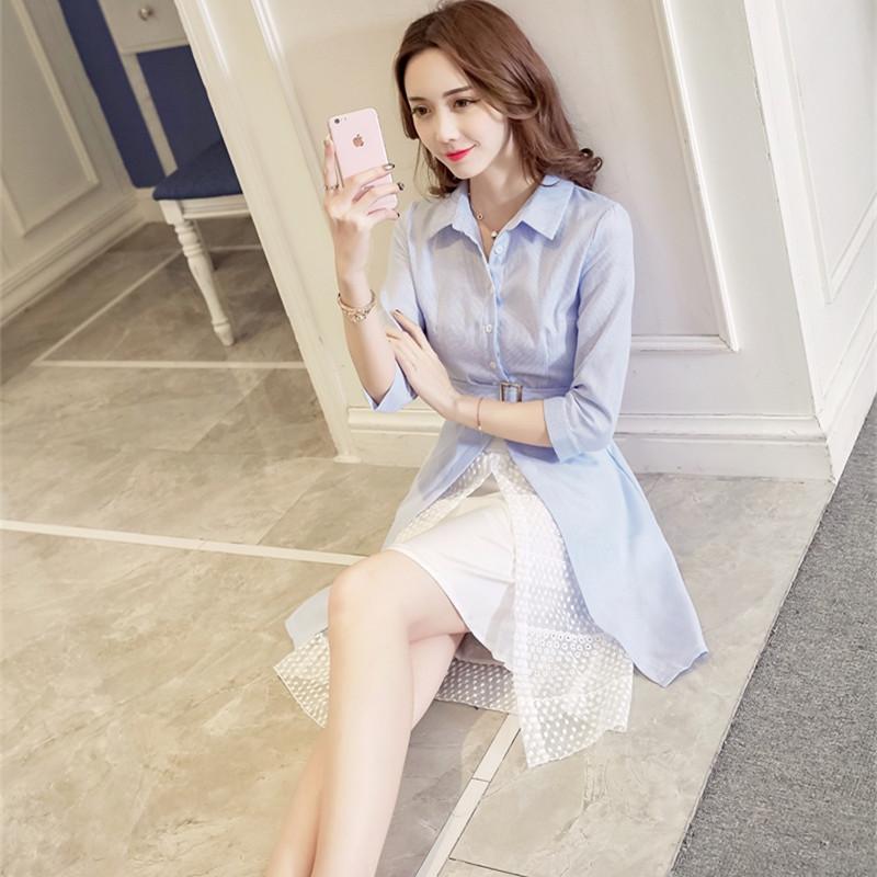 新款女修身显瘦蓝色衬衫 两件套