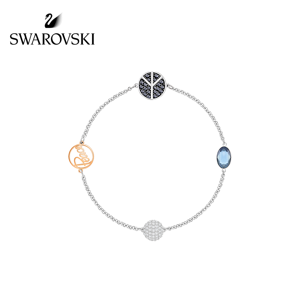 4c410190712ce Swarovski SWA REMIX COLLECTION symbol of peace invisible magnetic buckle  bracelet women's jewelry