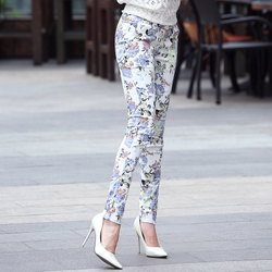 2020 Autumn bottoming outer wear high waist elastic casual pants female printing Slim female feet pencil trousers tide Floral