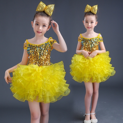 Kids modern dance costumes paillette boys girls school competition jazz singers chorus host dancing dress outfits