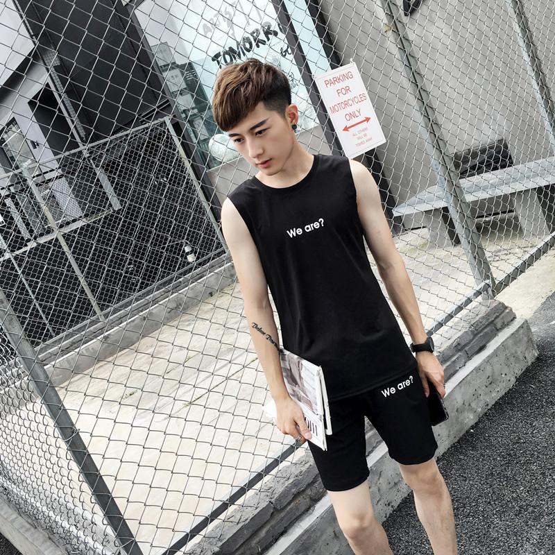 夏季男士运动背心无袖套装青少年宽松跑步篮球服休闲速干健身套装